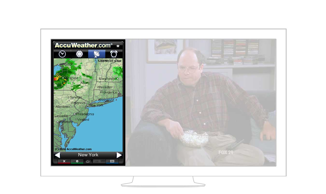 The AccuWeather widget on a TV