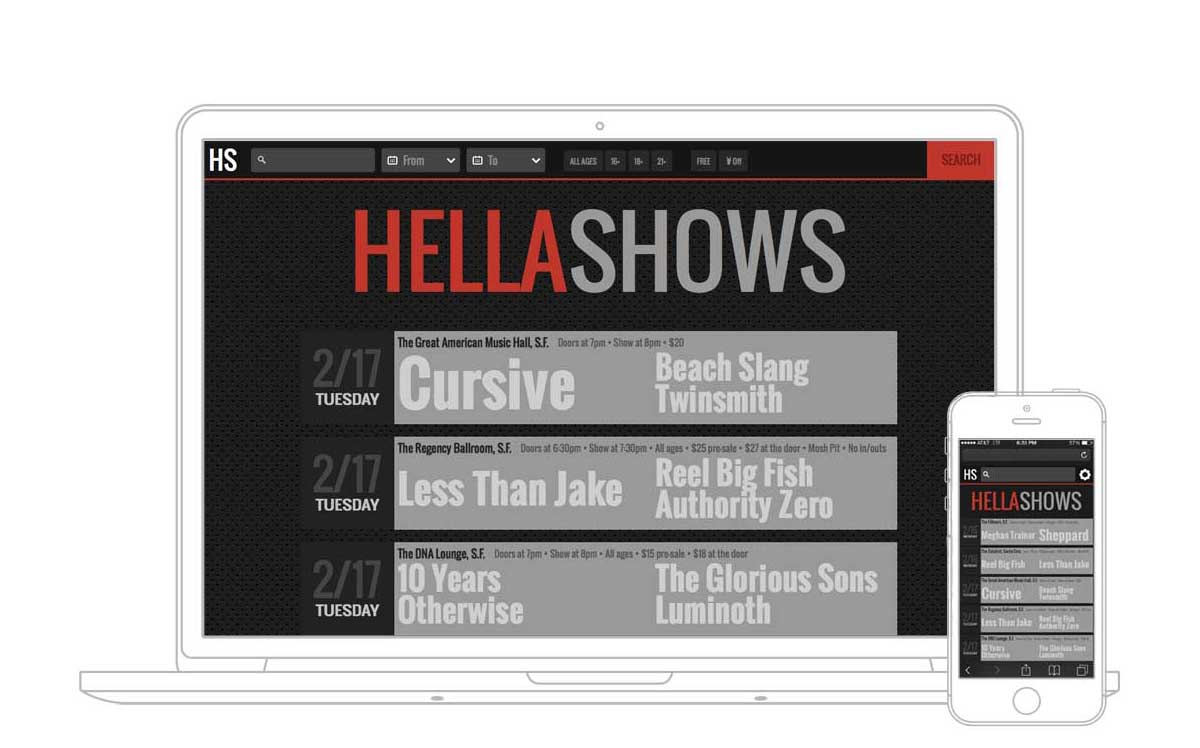 HellaShows on a MacBook